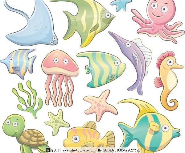 卡通可爱的海洋动物矢量素材04