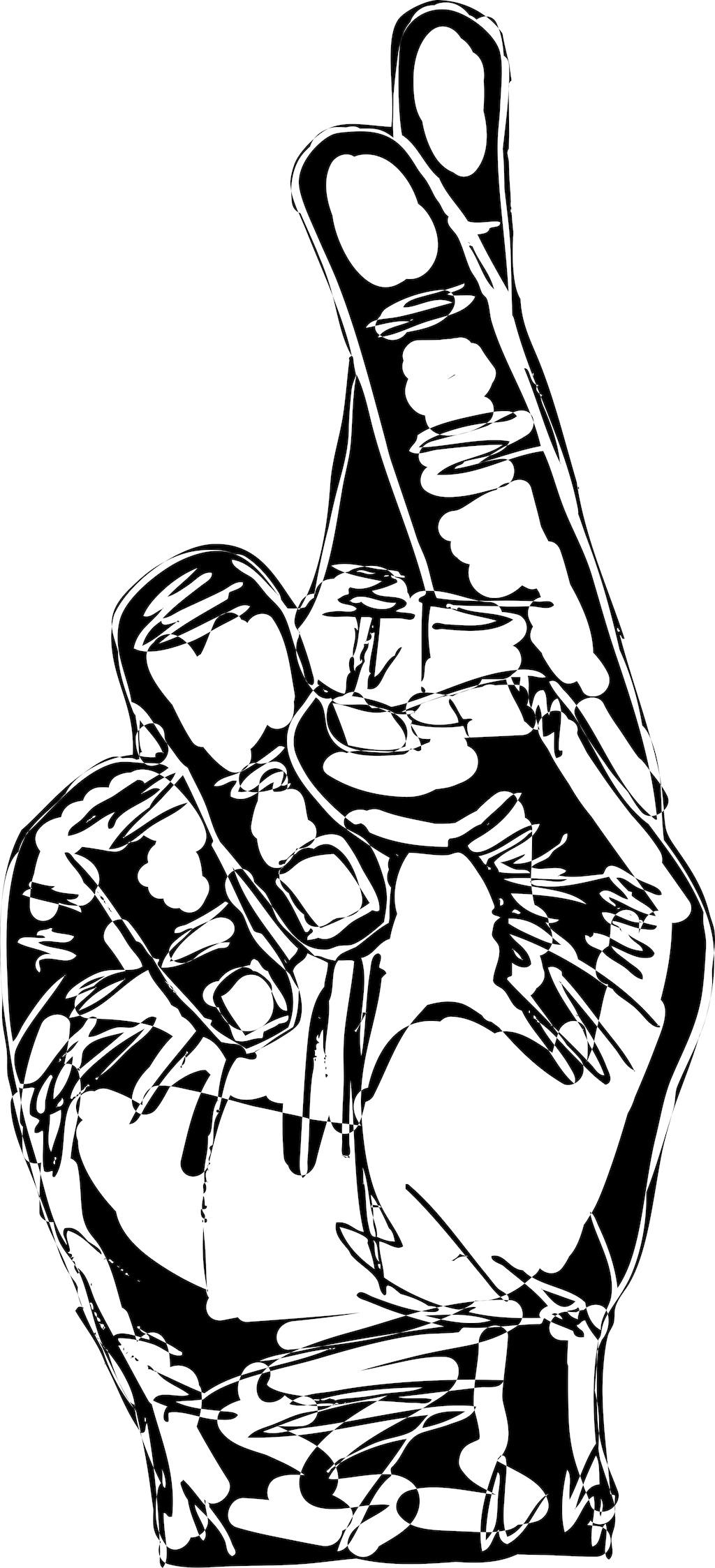 交叉手指的手绘插画矢量