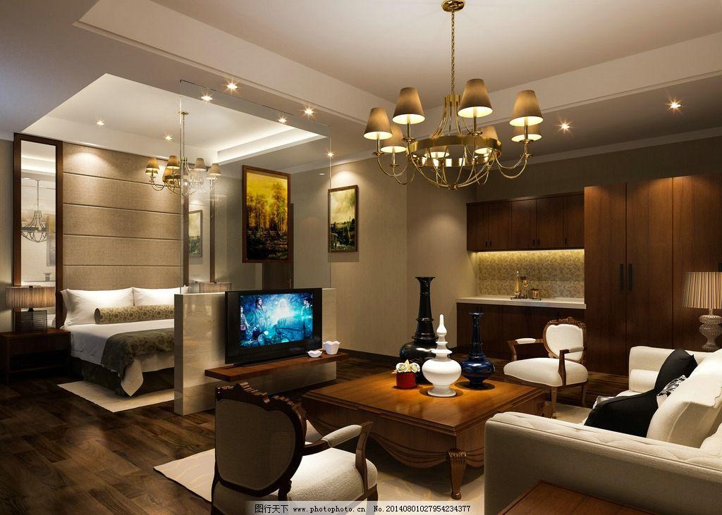 酒店效果图 套房 卧室 客厅 木地板