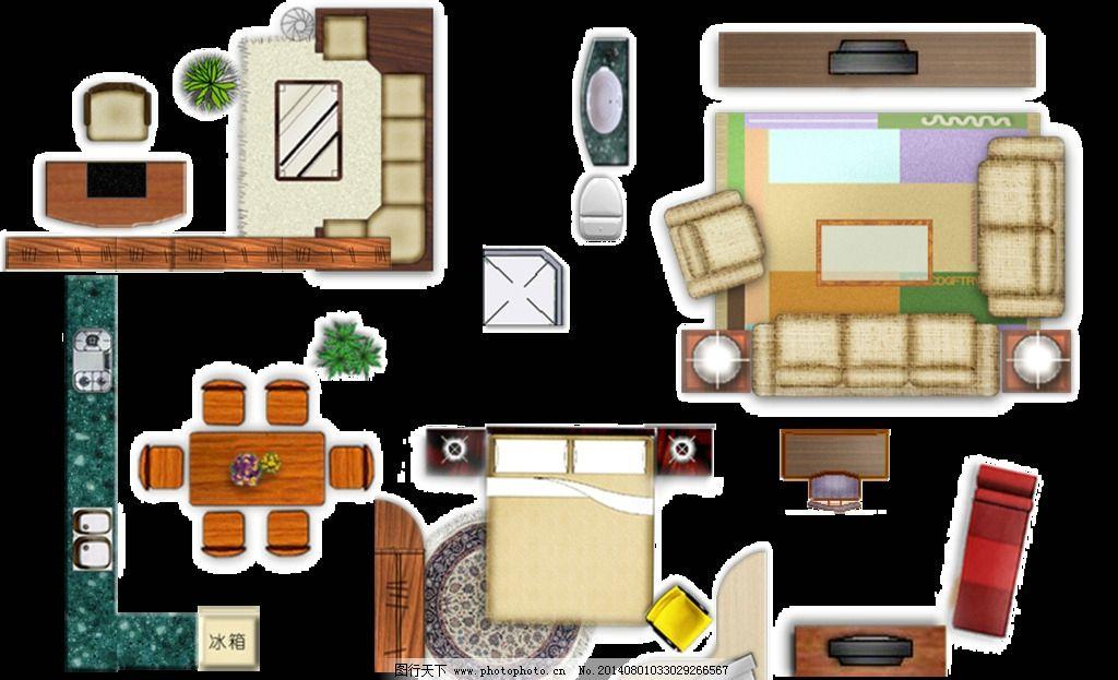 室内平面图素材 沙发 床 衣柜 厨具 书桌 餐桌