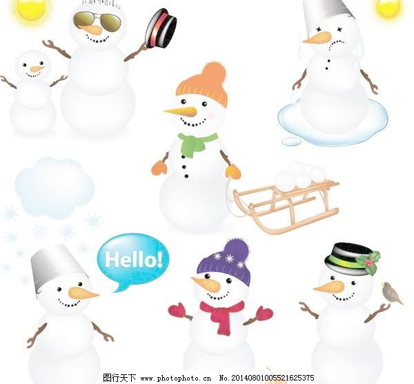 可爱的圣诞雪人矢量免费下载