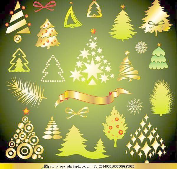 卡通 圣诞 圣诞树 树 树叶 丝带 星星 雪花 弓 卡通 圣诞 圣诞树 树叶