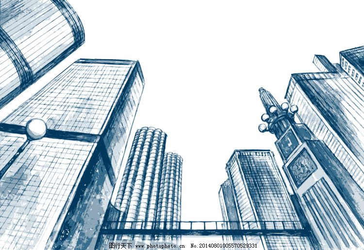手绘繁华都市高楼矢量素材免费下载 城市风光 都市 高楼大厦 矢量图