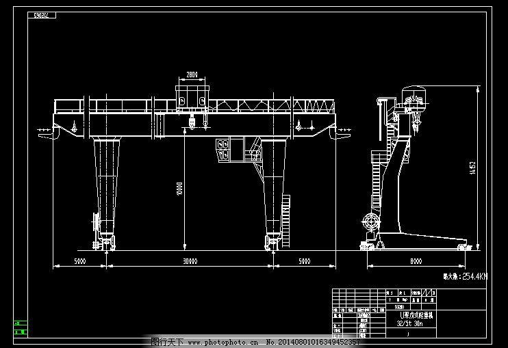 32吨l型单梁门式起重机cad图纸