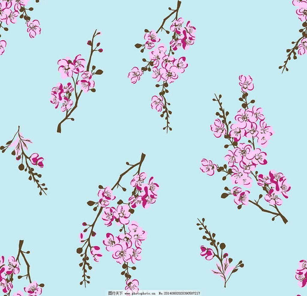 梅花 花 印花图案 树 设计 散花 花朵 花边花纹 底纹边框 300dpi psd