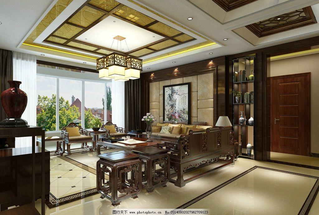 中式客厅效果图 中式 软包背景墙 中式家具沙发 中式吊顶 中式风格图片