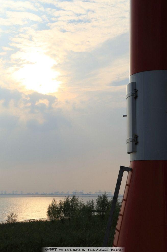 灯塔 风景 日落 夕阳 长江 建筑 建筑景观 自然景观 摄影 350dpi jpg