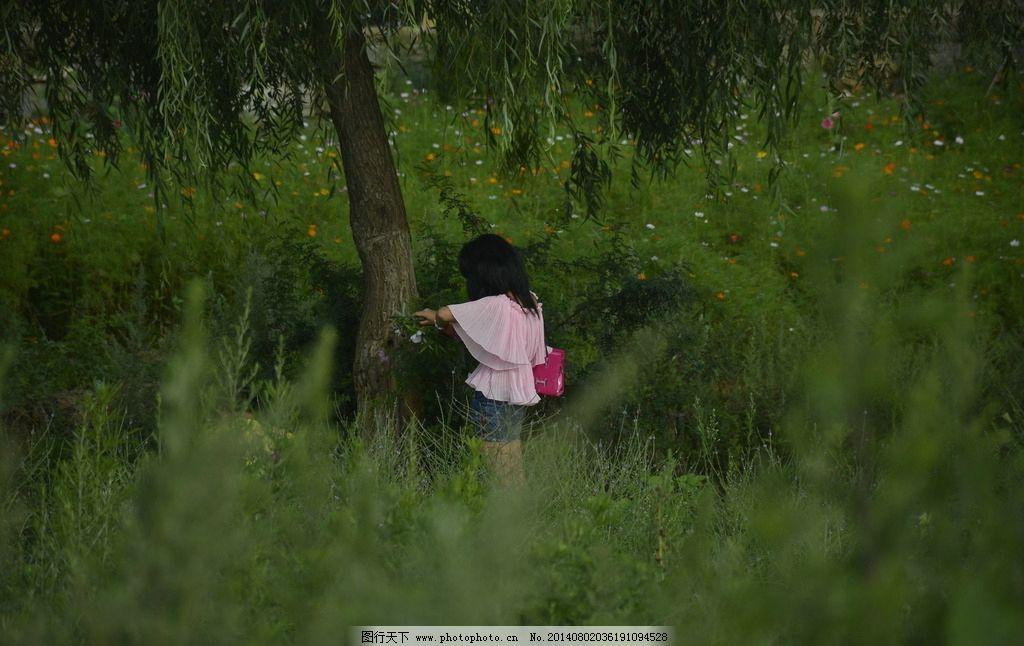 背影 柳树 绿色 植物 红衣 女人 日常生活 人物图库 摄影 300dpi jpg