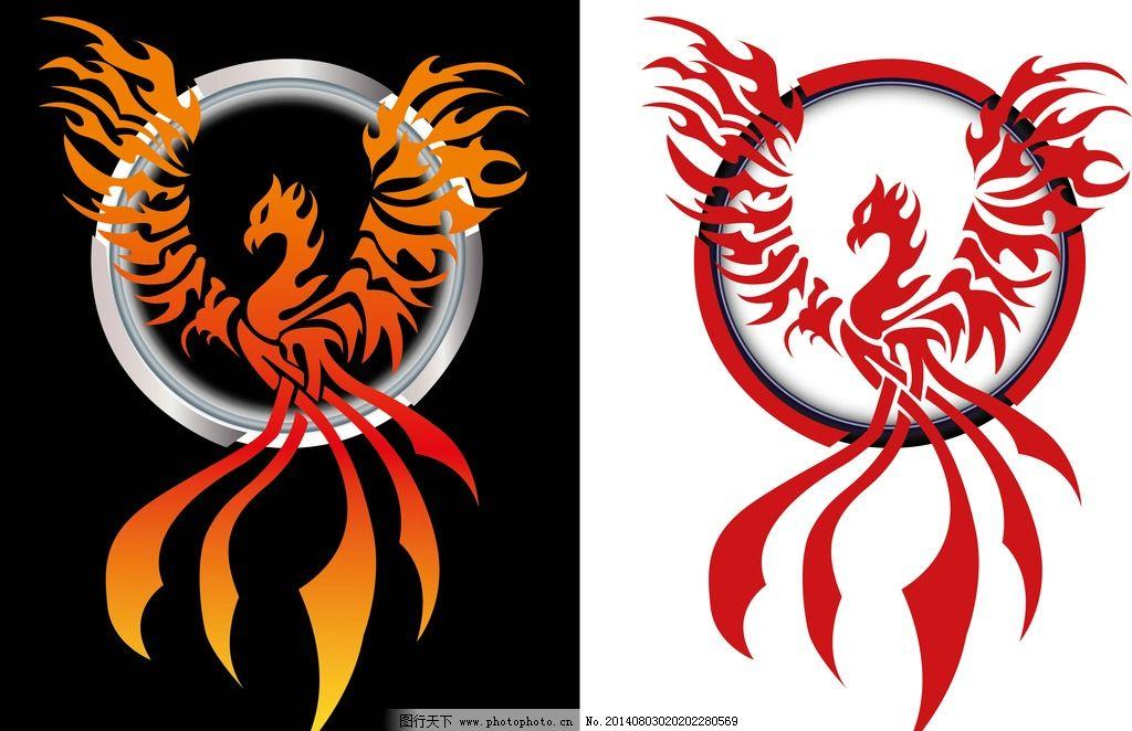 纹身图案 吉祥 图腾 线条 火凤凰 手绘 花纹 纹样 图形 矢量素材
