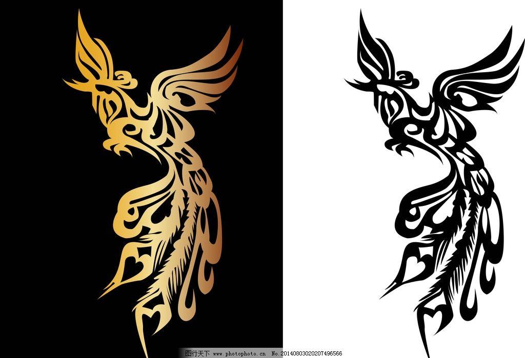 纹身图案 吉祥 图腾 凤凰 手绘 矢量素材