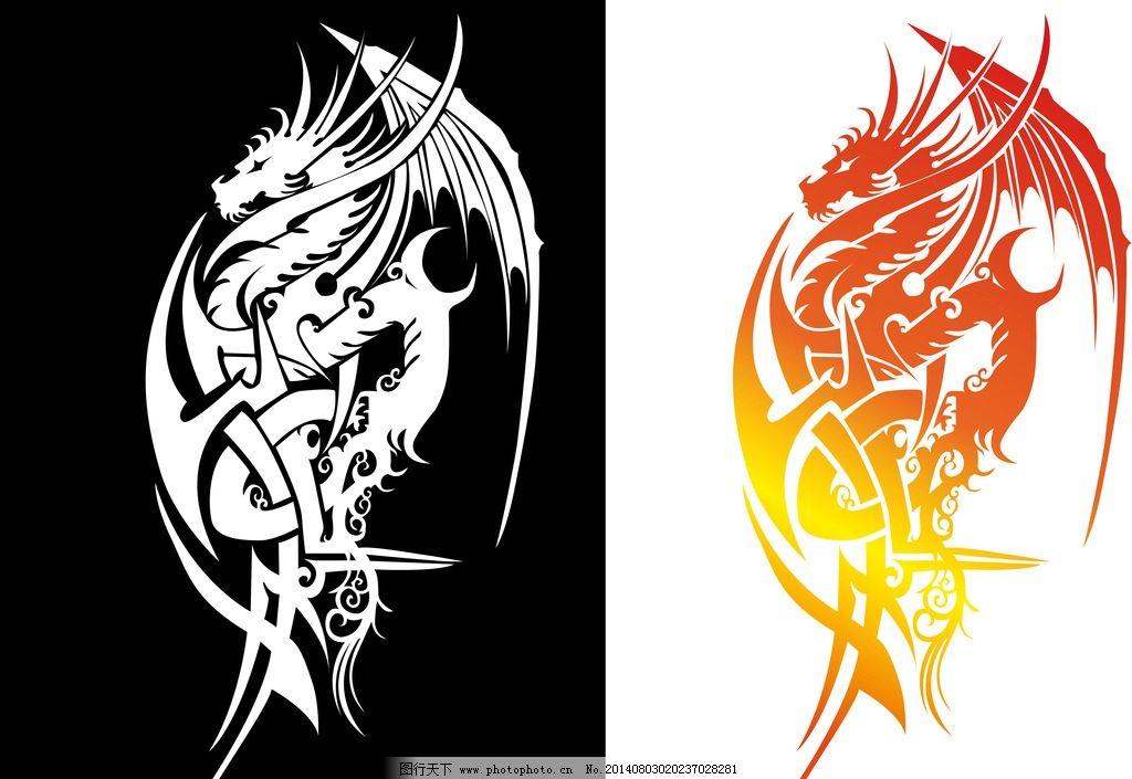纹身图案 吉祥 图腾 线条龙 手绘 矢量素材