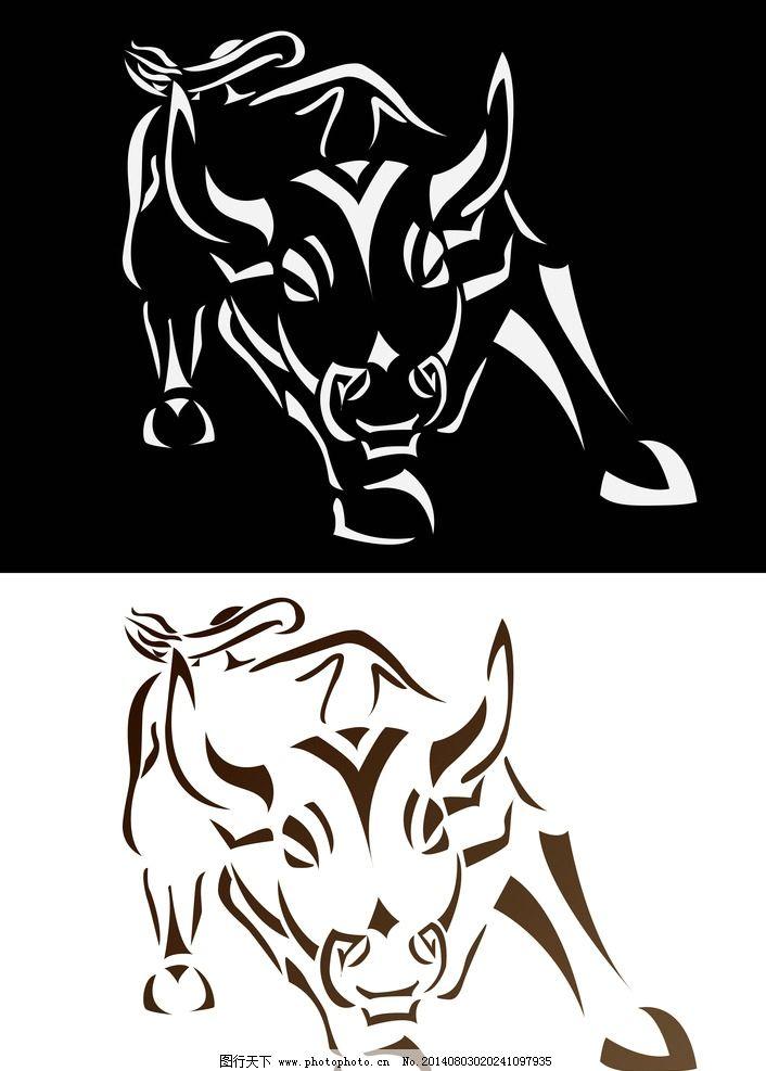 纹身图案 纹身 吉祥 图腾 线条 牛 手绘 图案 矢量素材 eps 背景底纹