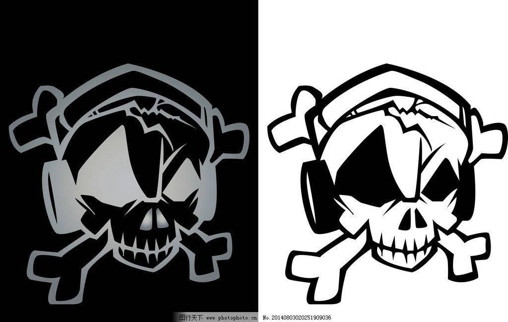 纹身图案 吉祥 图腾 骷髅 手绘 矢量素材图片