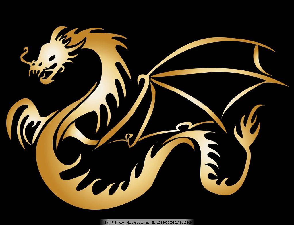 纹身图案 吉祥 图腾 线条 金龙 手绘 花纹 纹样 图形 矢量素材