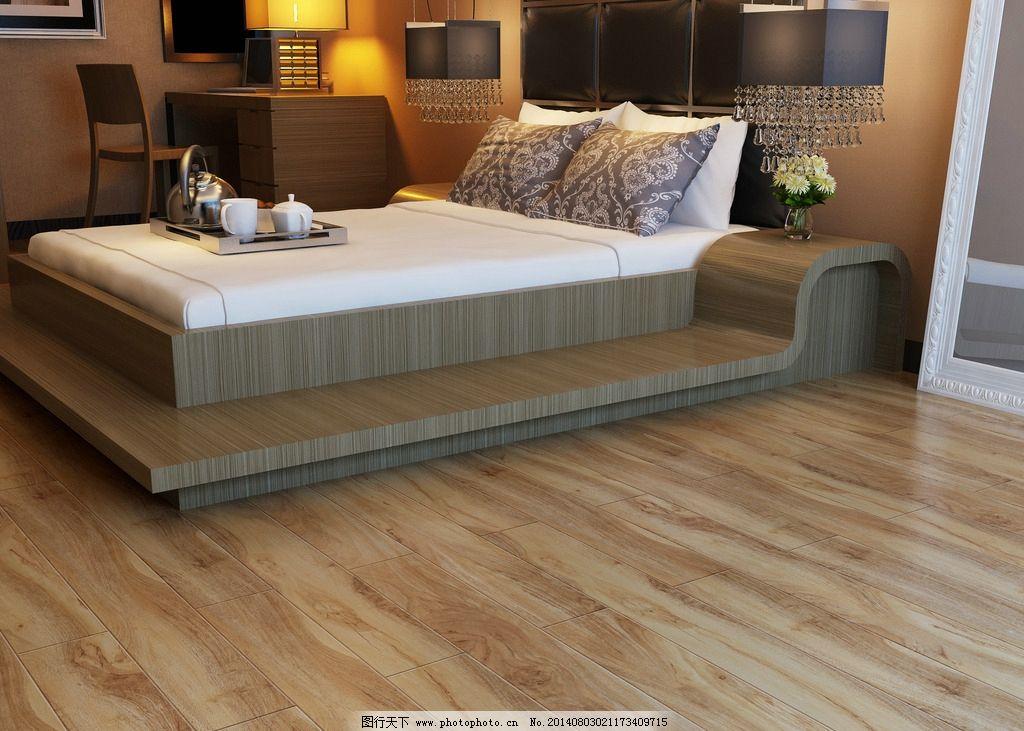 木地板效果图 卧室木地板 扬子地板 强化地板 除醛地板 现代简约卧室