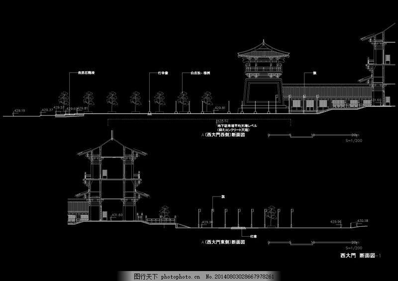 西门立面cad图纸,图纸下载 建筑素材 黑色-图行天下