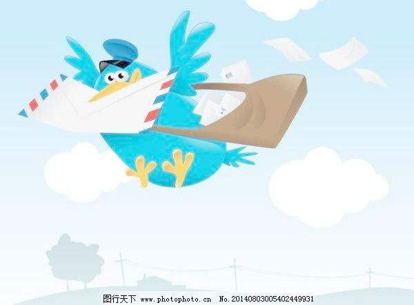 卡通动物08矢量免费下载 动物 鸽子 卡通 信封 动物 卡通 信封 邮寄