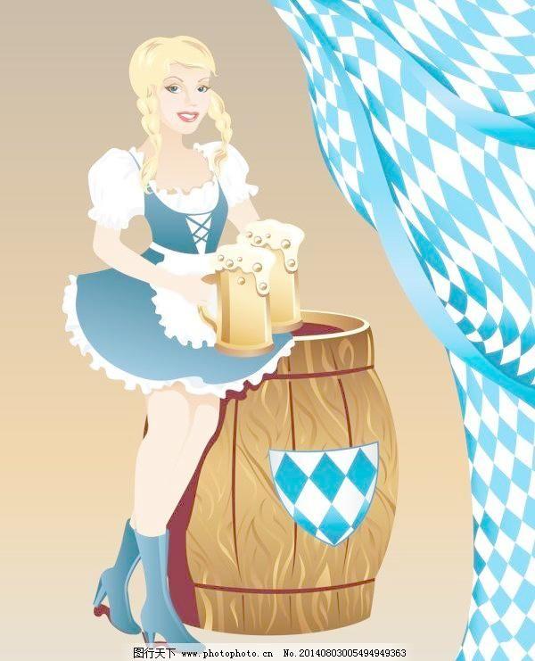 图像 性感 啤酒 啤酒桶 卡通 女孩 图像 标签 性感 粗壮的 矢量图