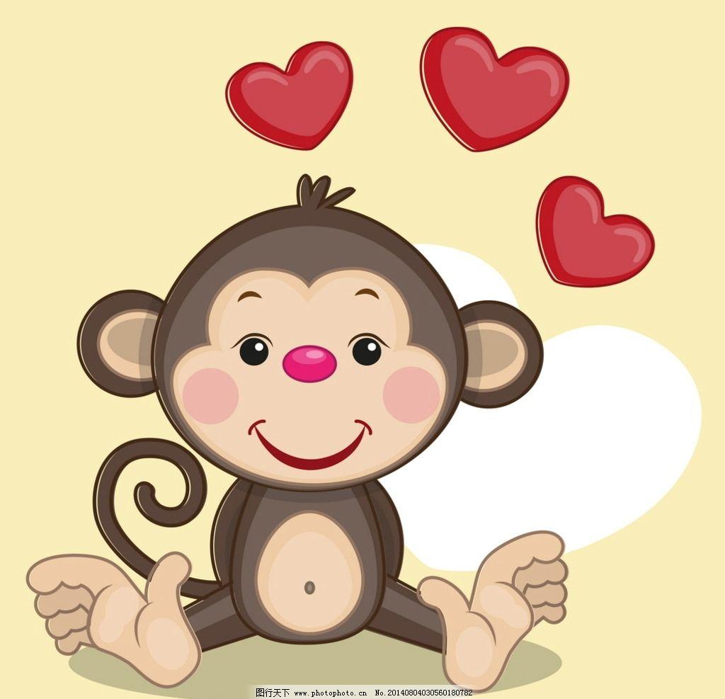 可爱卡通猴子 猴子 卡通 动漫 手绘 矢量 可爱 动物 其他 动漫动画