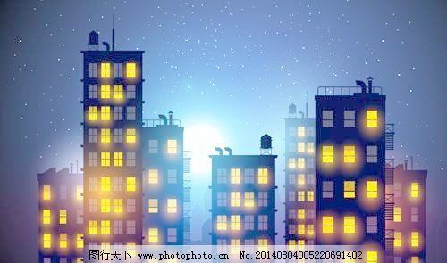灯火通明的城市商务楼
