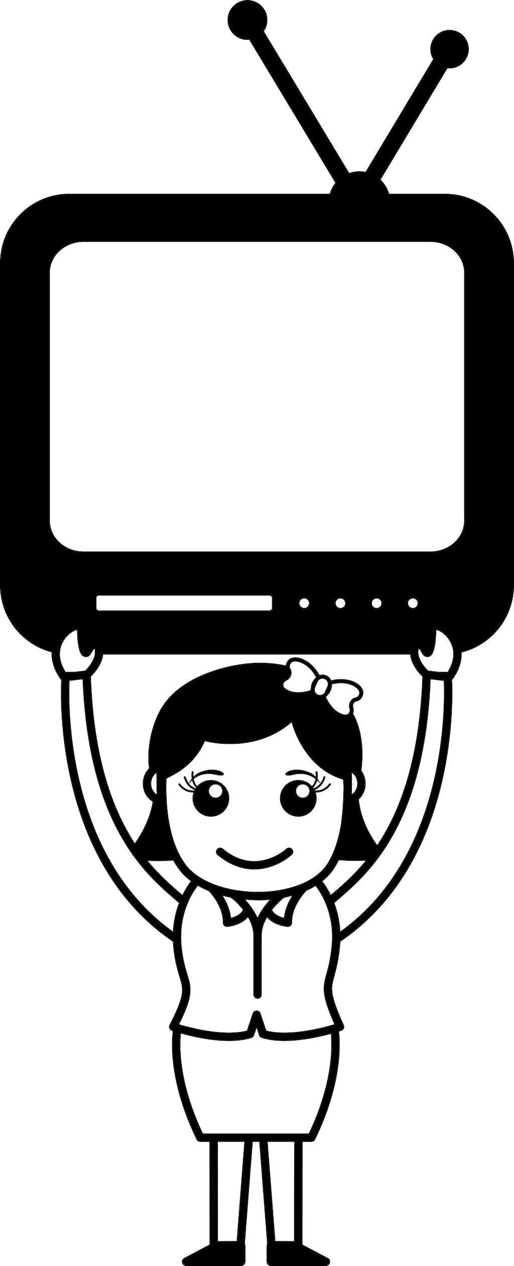 电视简笔画-电视机卡通矢量图 电视机没信号矢量图