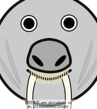 密封圆形脸剪贴画动物