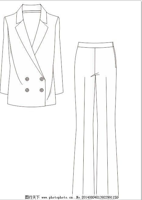 时装 制服 长领西装 制服 时装      服装设计 服装款式图图片