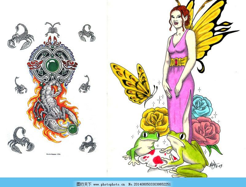 美女手绘纹身 图案精灵手绘