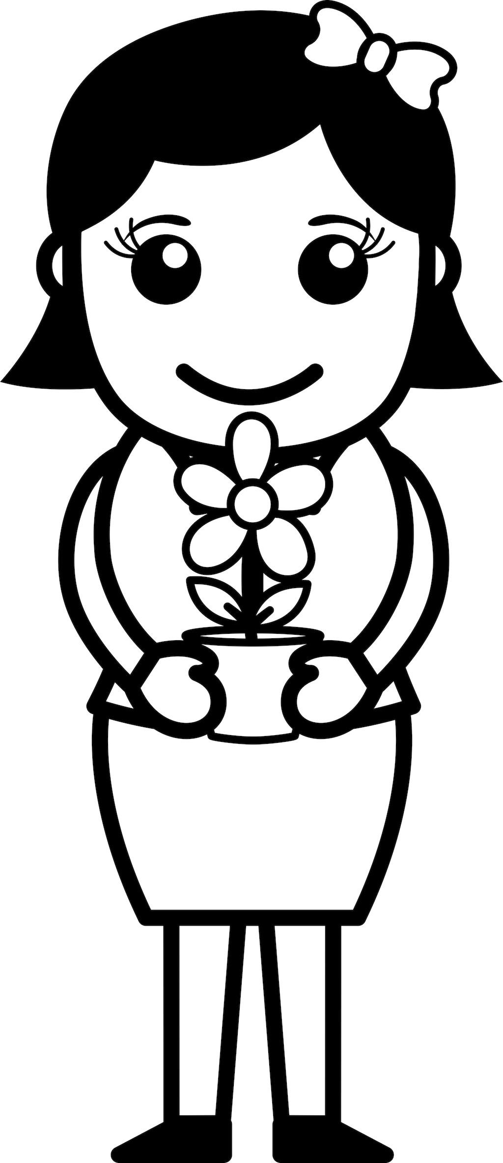 捧着花盆的手-矢量