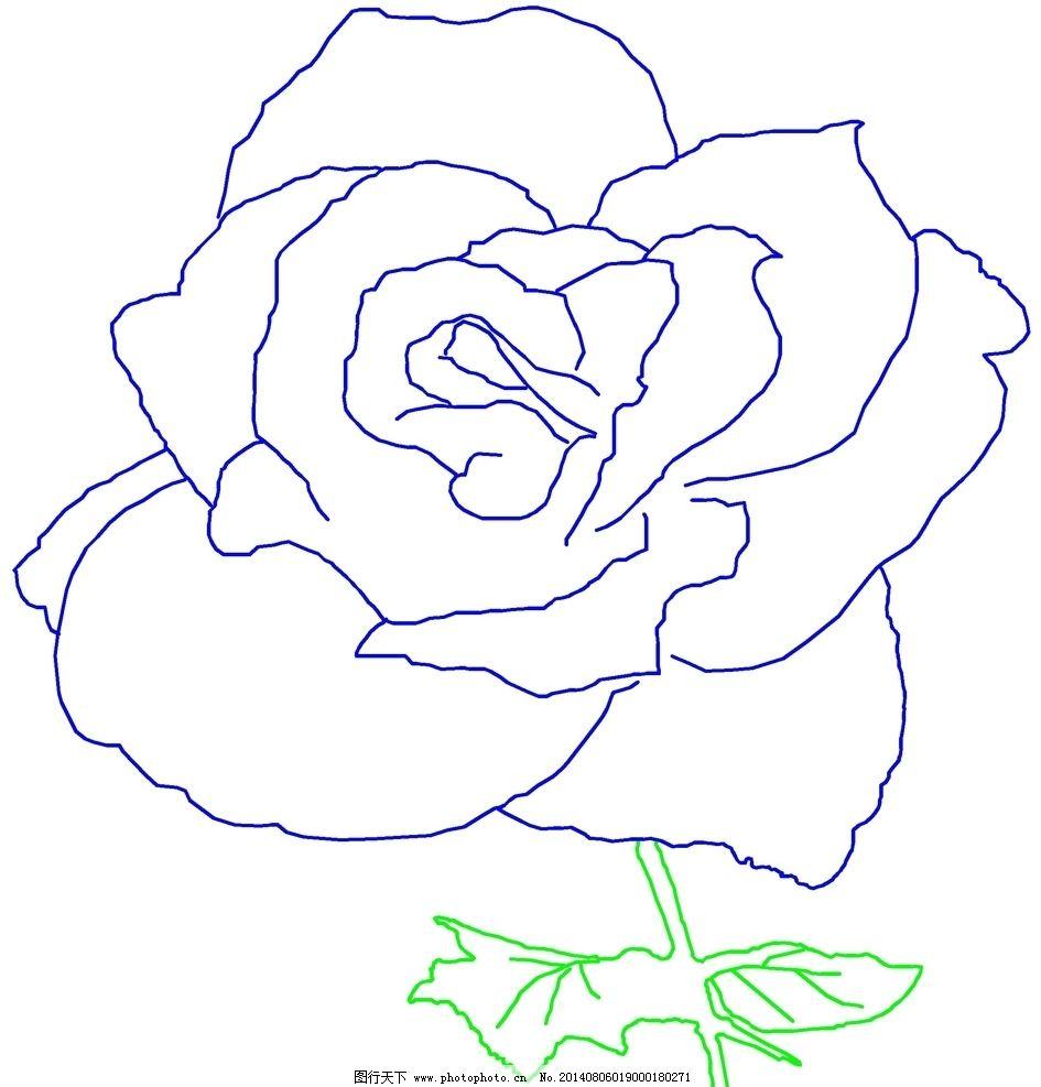 蓝玫瑰绘画图片