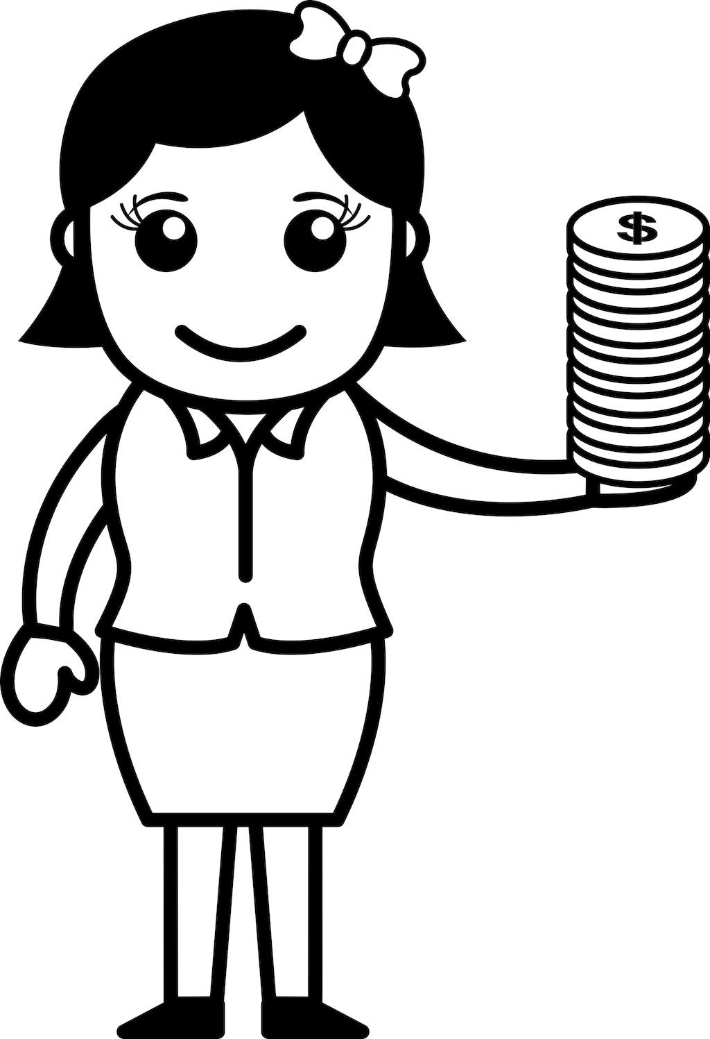美元硬币在女性手矢量插画