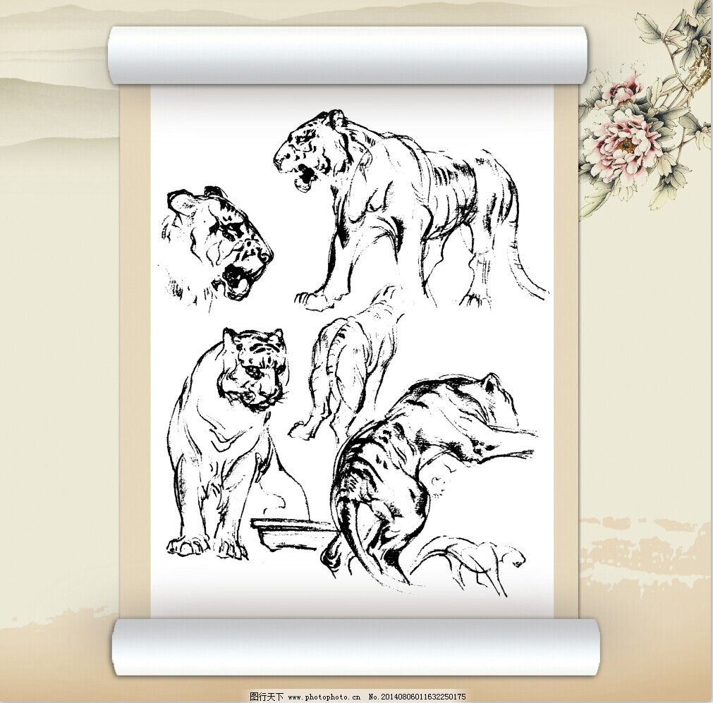 线描老虎工笔装饰画免费下载 白描 动物 工笔 美术 文化艺术 线描