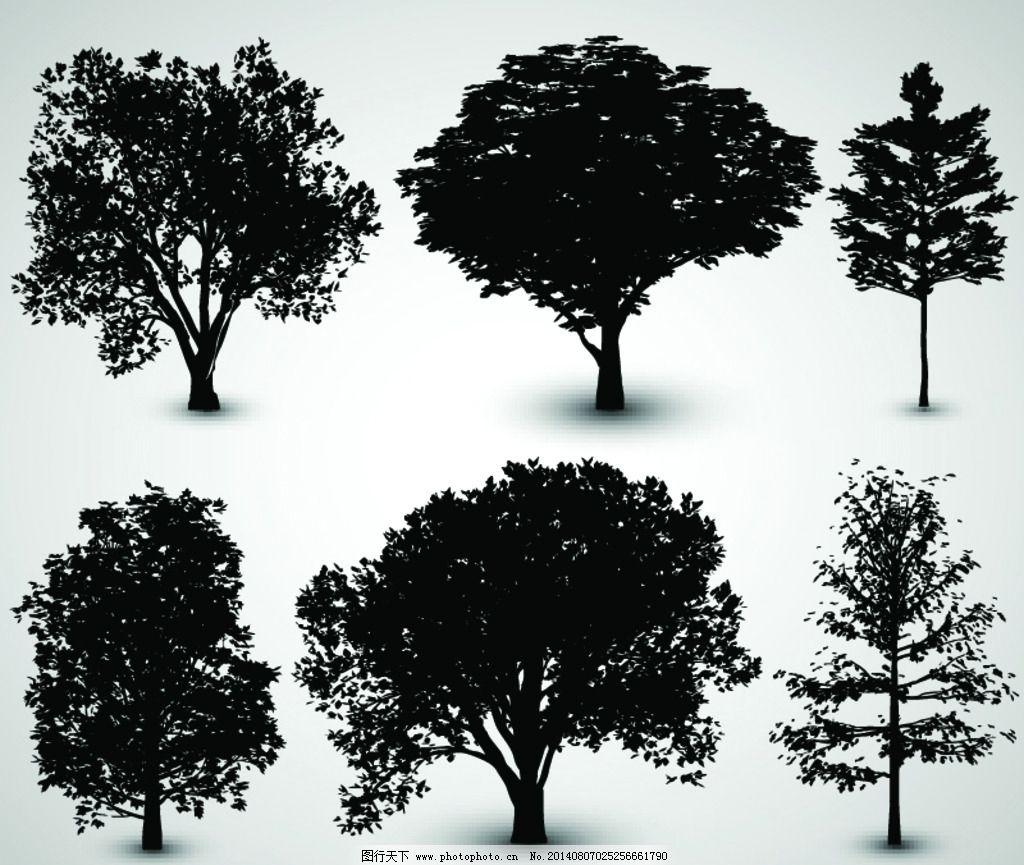 树木剪影 树木 矢量树木 园林 树叶 环保 手绘树木 自然 树木贴图