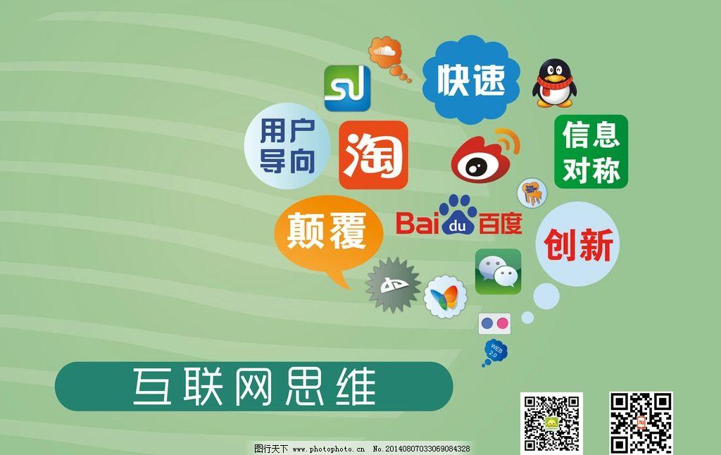 互联网吊旗 互联网思维 二维码 腾讯qq 淘宝图标 新浪微博 百度logo图片