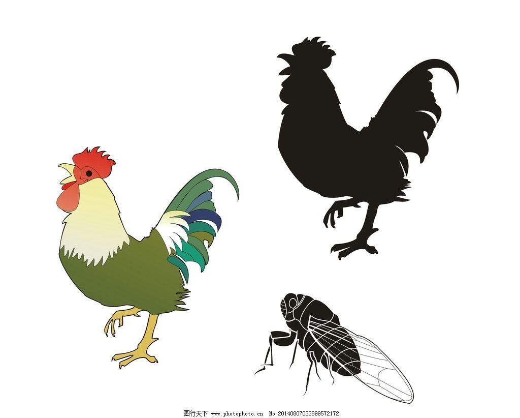 动物 公鸡 蝉 纯色 线描 图片素材 其他 设计 cdr