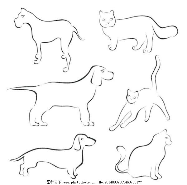 动物 狗 猫 手稿 手绘 线 动物 猫 狗 手绘 线 手稿 矢量图 矢量人物