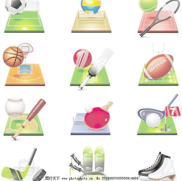 体育图标04矢量,棒球 保龄球 高尔夫俱乐部 滑板-图行