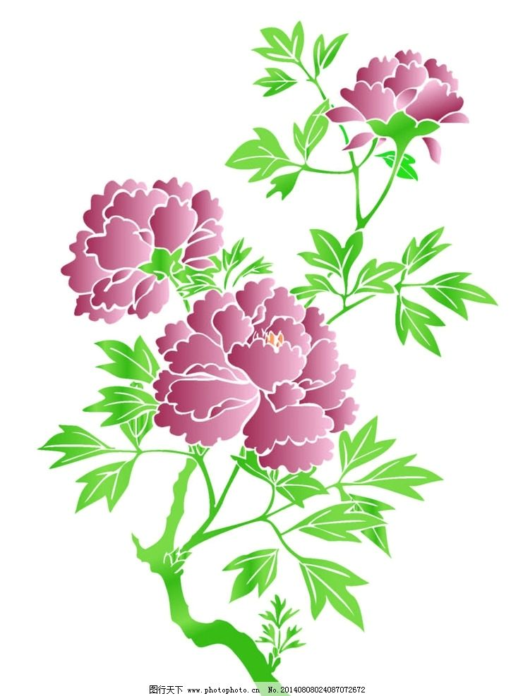 花朵 矢量图 ai 剪纸 植物 树枝 树叶 自然风光 自然景观 设计