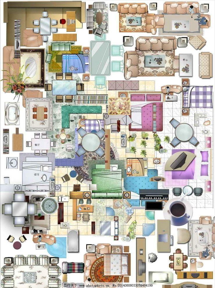 彩色平面图 室内 室内彩色平面 沙发平面图 家具平面图 彩色平面 psd
