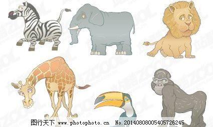设计图库 矢量图 矢量人物  有趣的动物矢量素材免费下载 长颈鹿 大象