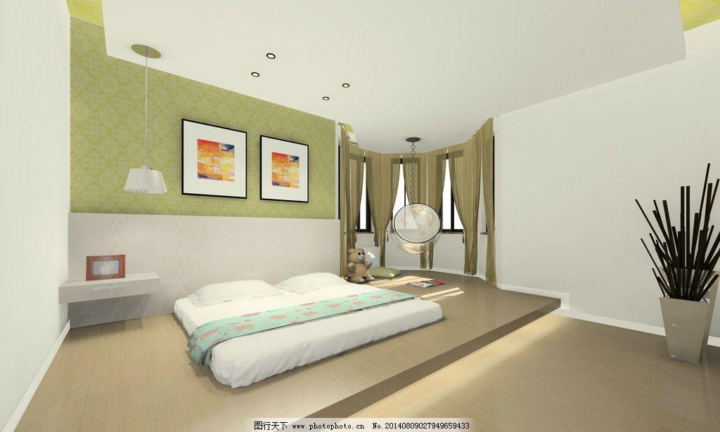 主卧室效果图 主卧室 室内设计 绿色 黄色 现代 欧式 环境设计 设计图片
