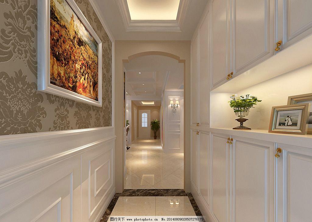 过道效果图 住房 过道 欧式 吸顶灯 壁画 墙纸 热带树 装修