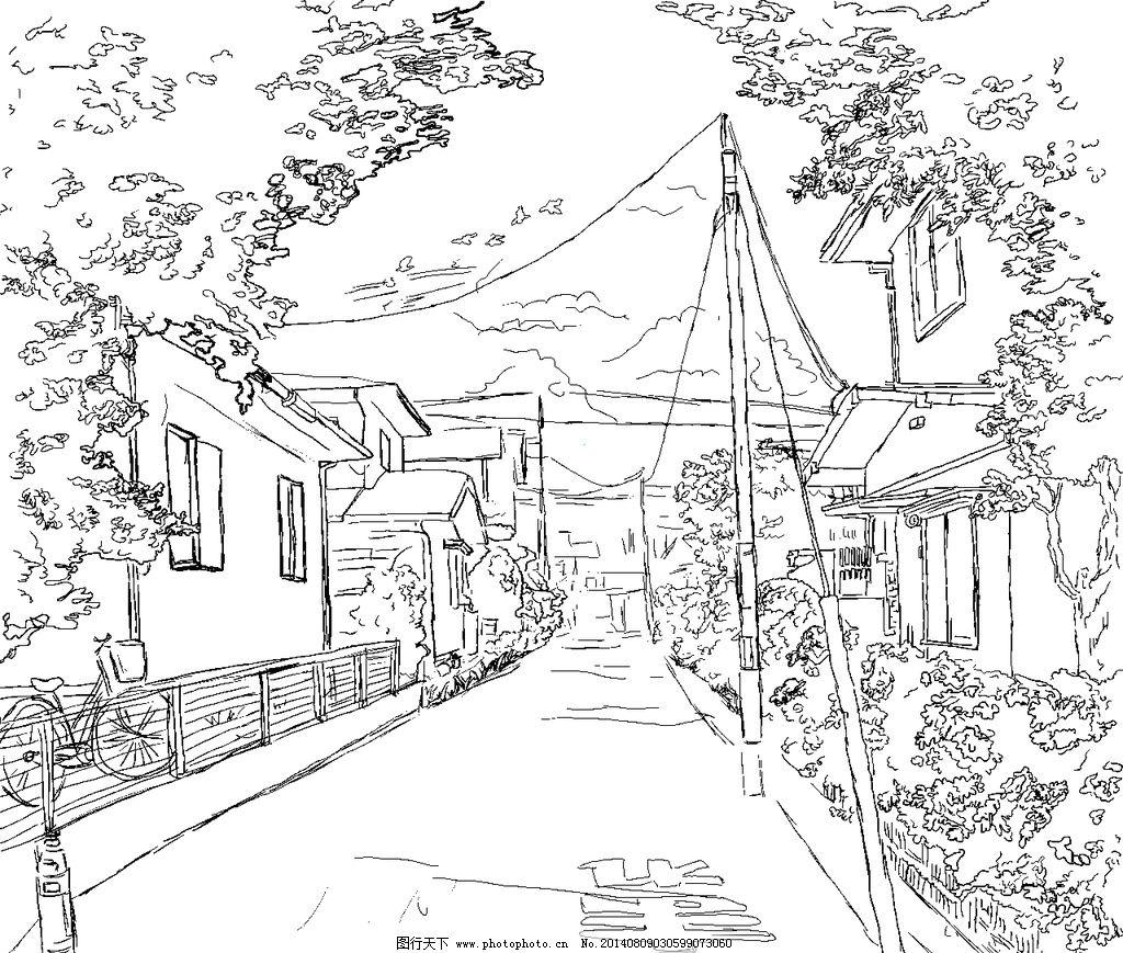 动漫场景 未上色 风景 小镇 小路 手绘 线稿 风景漫画 动漫动画