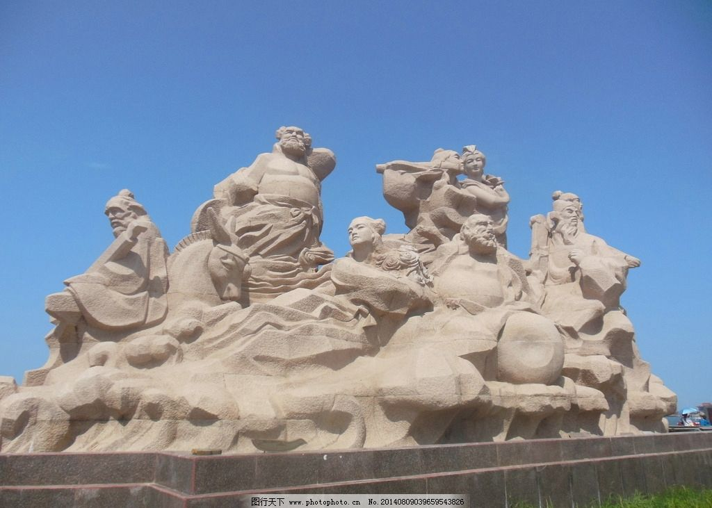 八仙过海 蓬莱 石雕 八仙过海石刻 蓝天 雕塑 建筑园林 摄影 300dpi