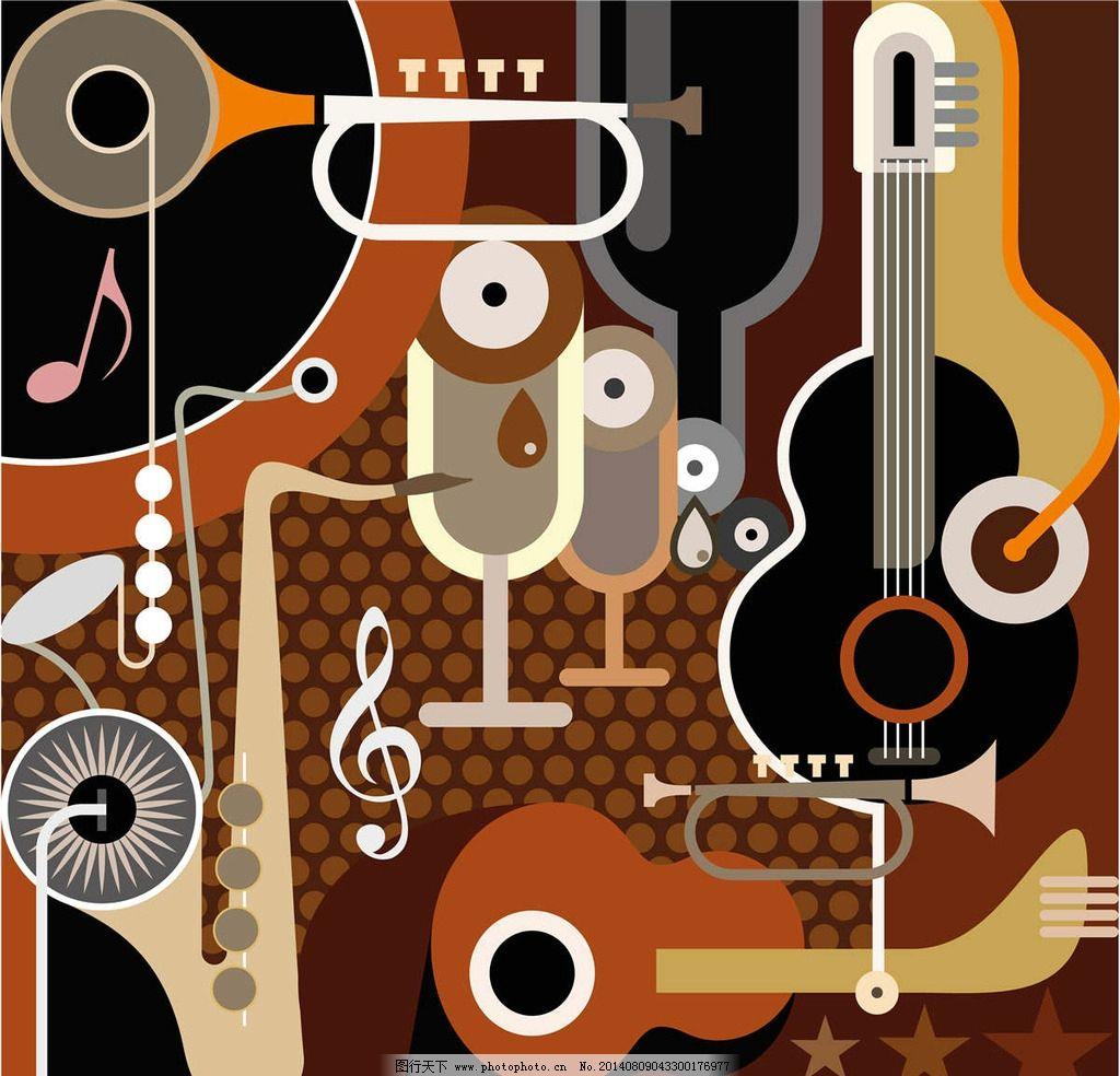 乐器 吉他 抽象派 抽象画 抽象设计 抽象卡通 印象派 萨克斯 卡通设计