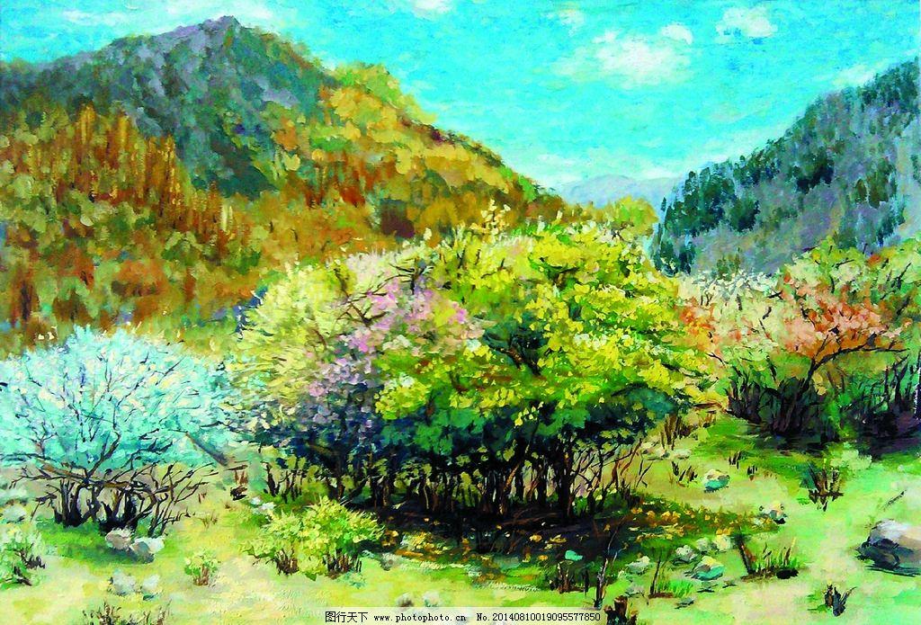 水粉画 风景画 山岭 山野 花木 花草 植物 绘画书法 文化艺术 设计 72