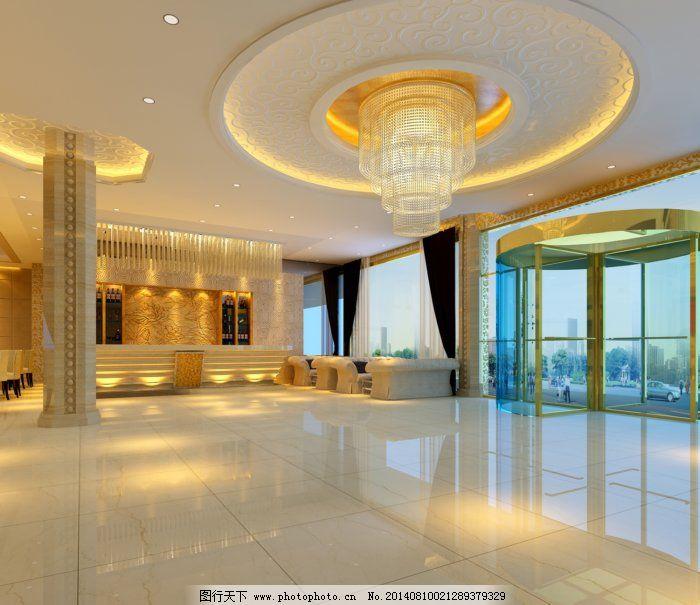 现代时尚的大厦大厅设计免费下载 灯饰 吊顶 圆形 圆形 吊顶 灯饰 3d