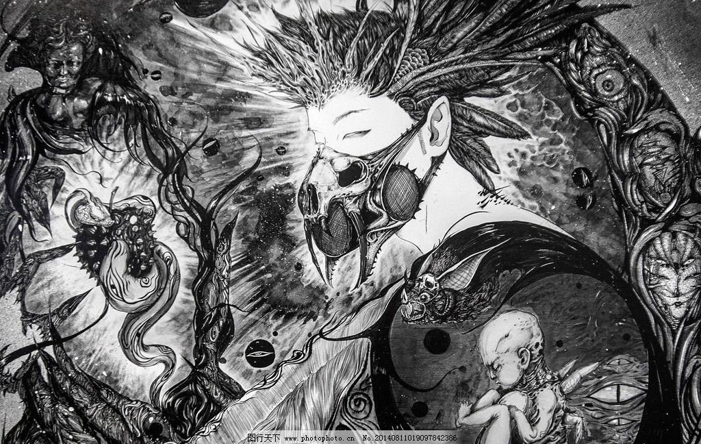 黑白插画 插画 黑白插图 手绘插图 硬笔画 绘画 黑白画 插图 玄幻