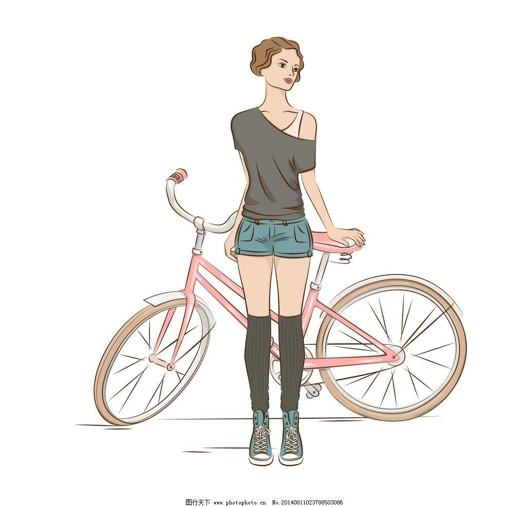 真人卡通美女头像_手绘美女 女孩 女人 自行车 脚踏车 单车 时尚 卡通美女 少女