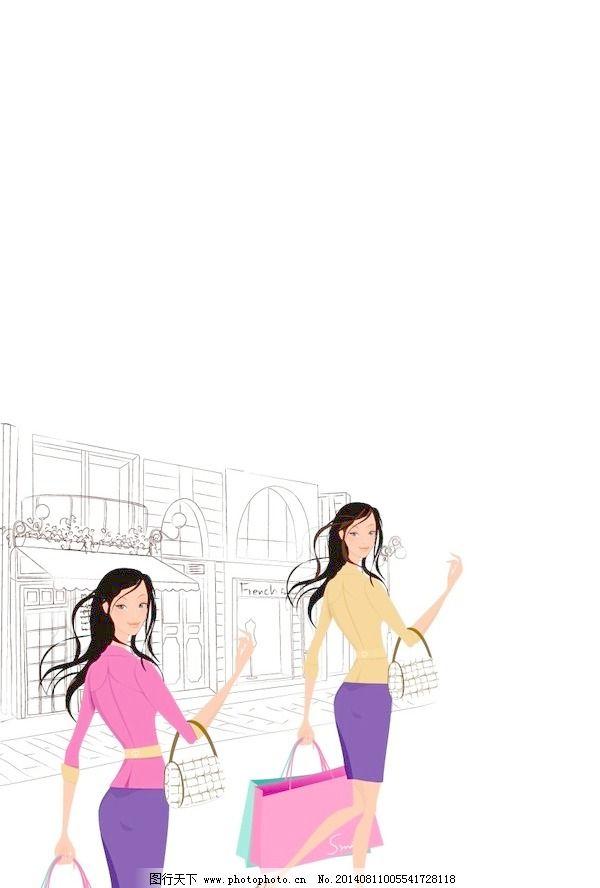 人物 韩国美女/韩国美女购物人物矢量图061